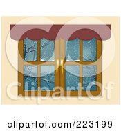Royalty Free RF Clipart Illustration Of Wooden Window Panes With A Scalloped Valance Looking Out Onto A Winter Scene by elaineitalia
