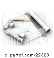 Clipart Illustration Of A Pencil Ruler And Weights Resting On Top Of An Architects Blueprints by KJ Pargeter
