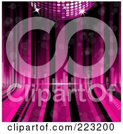 Royalty Free RF Clipart Illustration Of A Pink 3d Disco Ball Over Pink And Black Curving Lines With Equalizer Bars by elaineitalia
