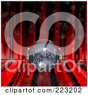 Royalty-Free (RF) Clipart Illustration of a Silver 3d Disco Ball With Headphones Over Red Lines And Equalizer Bars by elaineitalia