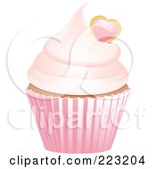 Royalty Free RF Clipart Illustration Of A Heart Garnished Cupcake In A Pink Wrapper by elaineitalia