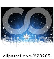Royalty Free RF Clipart Illustration Of Silver Stars On A Green And Black Burst Above Grungy Snow by elaineitalia