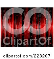 Royalty Free RF Clipart Illustration Of A Glittery Red And Black Lined Background With Equalizer Bars