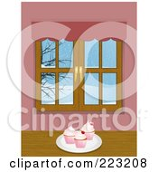 Royalty Free RF Clipart Illustration Of A Plate Of Cupcakes Near A Window With A Winter Scene by elaineitalia