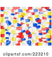 Royalty Free RF Clipart Illustration Of A Background Of Red Blue Yellow And White Pill Capsules by elaineitalia