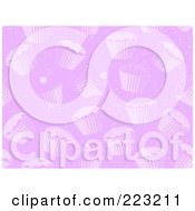Royalty Free RF Clipart Illustration Of A Seamless Purple Background Pattern Of Cupcakes