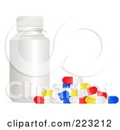 Royalty Free RF Clipart Illustration Of A White Bottle With Colorful Pill Capsules