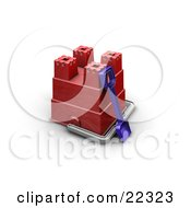 Clipart Illustration Of A Blue Shovel Leaning Against An Upside Down Red Sand Castle Making Bucket On A Beach