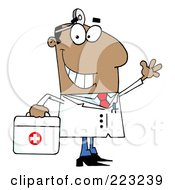 Royalty Free RF Clipart Illustration Of A Smiling And Waving Black Male Doctor With A First Aid Kit And Head Lamp