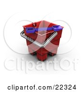 Clipart Illustration Of A Blue Shovel On Top Of A Red Sand Castle Making Bucket On A Beach