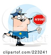 Royalty Free RF Clipart Illustration Of A White Police Officer Holding A Stop Sign And Club