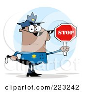 Royalty Free RF Clipart Illustration Of A Black Police Officer Holding A Stop Sign And Club