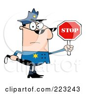 Caucasian Police Officer Holding A Stop Sign And Club by Hit Toon