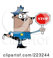 Royalty Free RF Clipart Illustration Of A Black Police Officer Holding A Stop Sign And Club by Hit Toon