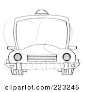 Royalty Free RF Clipart Illustration Of A Coloring Page Outline Of A Frontal View Of A Police Car With A Light On The Roof by Hit Toon