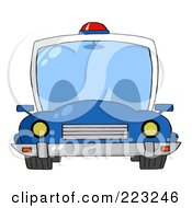 Royalty Free RF Clipart Illustration Of A Frontal View Of A Blue Police Car With A Light On The Roof by Hit Toon