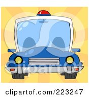 Royalty Free RF Clipart Illustration Of A Frontal View Of A Blue Cop Car With A Light On The Roof by Hit Toon