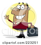 Royalty Free RF Clipart Illustration Of A Friendly Black Businessman Waving And Carrying A Briefcase