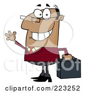 Royalty Free RF Clipart Illustration Of A Friendly African Businessman Waving And Carrying A Briefcase