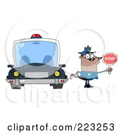 Royalty Free RF Clipart Illustration Of A Black Police Officer Holding A Stop Sign And Standing By His Vehicle by Hit Toon