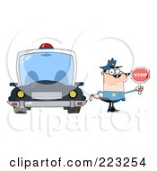 Royalty Free RF Clipart Illustration Of A Caucasian Police Officer Holding A Stop Sign And Standing By His Vehicle