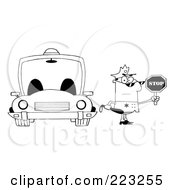 Royalty Free RF Clipart Illustration Of A Coloring Page Outline Of A Police Officer Holding A Stop Sign And Standing By His Vehicle