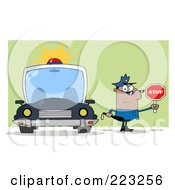 Royalty Free RF Clipart Illustration Of A Black Police Man Holding A Stop Sign And Standing By His Vehicle by Hit Toon