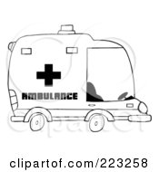 Royalty Free RF Clipart Illustration Of A Coloring Page Outline Of An Ambulance by Hit Toon