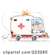 Royalty Free RF Clipart Illustration Of A Caucasian Man Driving An Ambulance