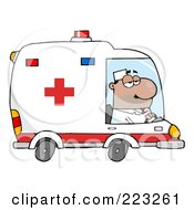Royalty Free RF Clipart Illustration Of A Hispanic Male Ambulance Driver