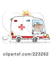 Royalty Free RF Clipart Illustration Of A Hispanic Man Driving An Ambulance