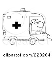 Royalty Free RF Clipart Illustration Of A Coloring Page Outline Of A Male Ambulance Driver by Hit Toon