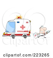 Royalty Free RF Clipart Illustration Of A Caucasian Male Doctor Walking Away From An Ambulance Carrying A Syringe