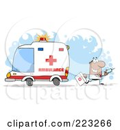 Royalty Free RF Clipart Illustration Of A Hispanic Or Black Doctor Walking Away From An Ambulance Carrying A Syringe