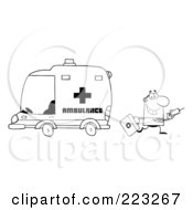 Royalty Free RF Clipart Illustration Of A Coloring Page Outline Of A Doctor Walking Away From An Ambulance Carrying A Syringe