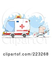 Royalty Free RF Clipart Illustration Of A Caucasian Doctor Walking Away From An Ambulance Carrying A Syringe by Hit Toon
