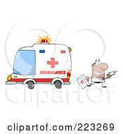 Royalty Free RF Clipart Illustration Of A Hispanic Or Black Male Doctor Walking Away From An Ambulance Carrying A Syringe