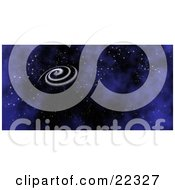 Fictional White Spiral Galaxy Spinning In The Dark Blue Night Of Starry Space