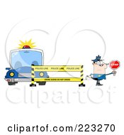 Caucasian Police Man Holding A Stop Sign By A Barrier And Car