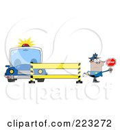 Royalty Free RF Clipart Illustration Of A Black Police Man Holding A Stop Sign By A Barrier And Car by Hit Toon
