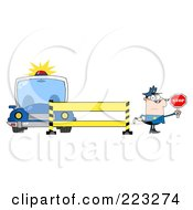Royalty Free RF Clipart Illustration Of A Caucasian Police Man Holding A Stop Sign By A Police Line And Car by Hit Toon