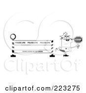 Royalty Free RF Clipart Illustration Of A Coloring Page Outline Of A Police Officer Holding A Stop Sign By A Police Line Barrier