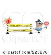 Royalty Free RF Clipart Illustration Of A Black Police Officer Holding A Stop Sign By A Police Line Barrier