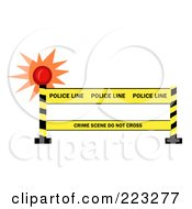 Royalty Free RF Clipart Illustration Of A Shining Light By A Police Line Barrier by Hit Toon