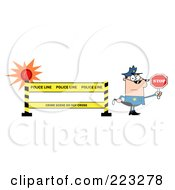 Royalty Free RF Clipart Illustration Of A White Police Officer Holding A Stop Sign By A Police Line Barrier