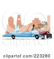 Royalty Free RF Clipart Illustration Of A Black Businessman Waving By His Convertible Car In The City
