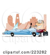 Royalty Free RF Clipart Illustration Of A Caucasian Businessman Waving By His Convertible Car In The City