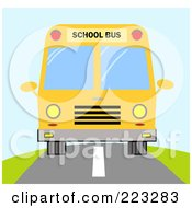 Royalty Free RF Clipart Illustration Of A Frontal View Of A Yellow School Bus On The Road by Hit Toon