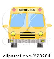 Royalty Free RF Clipart Illustration Of A Frontal View Of A Yellow School Bus