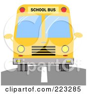 Royalty Free RF Clipart Illustration Of A Frontal View Of A Driving Yellow School Bus by Hit Toon